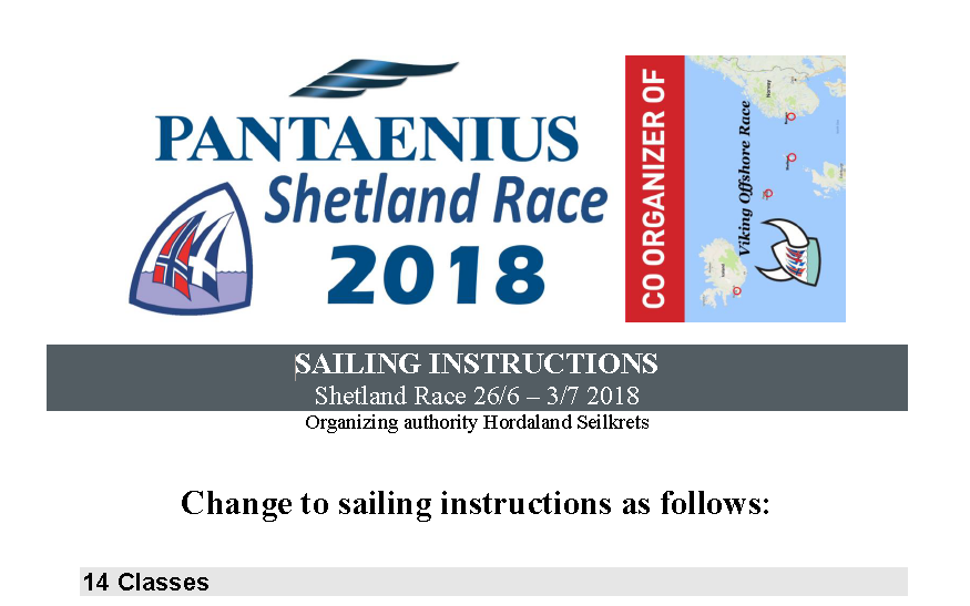 Change to sailing instructions